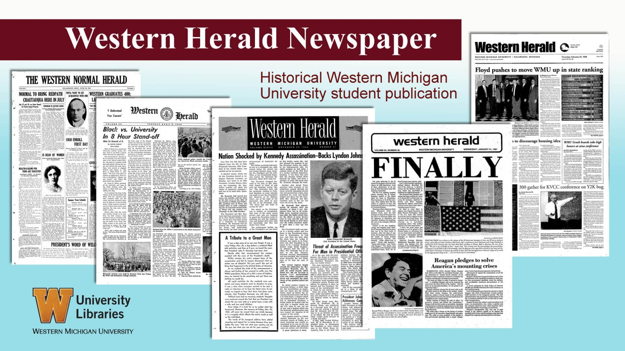 Collage of front pages of the Western Herald newspaper.