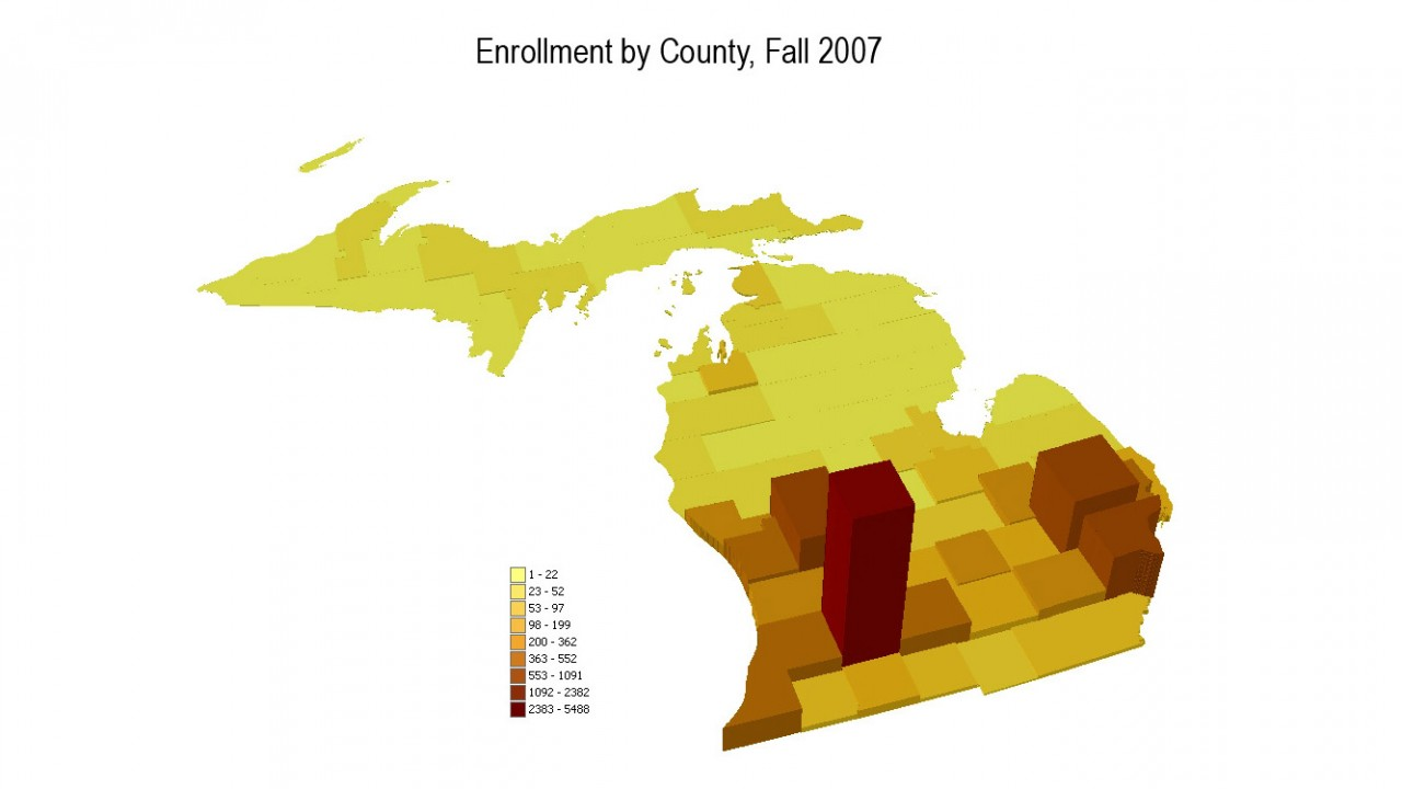 Three dimensional map showing enrollment at WMU by county in Michigan.