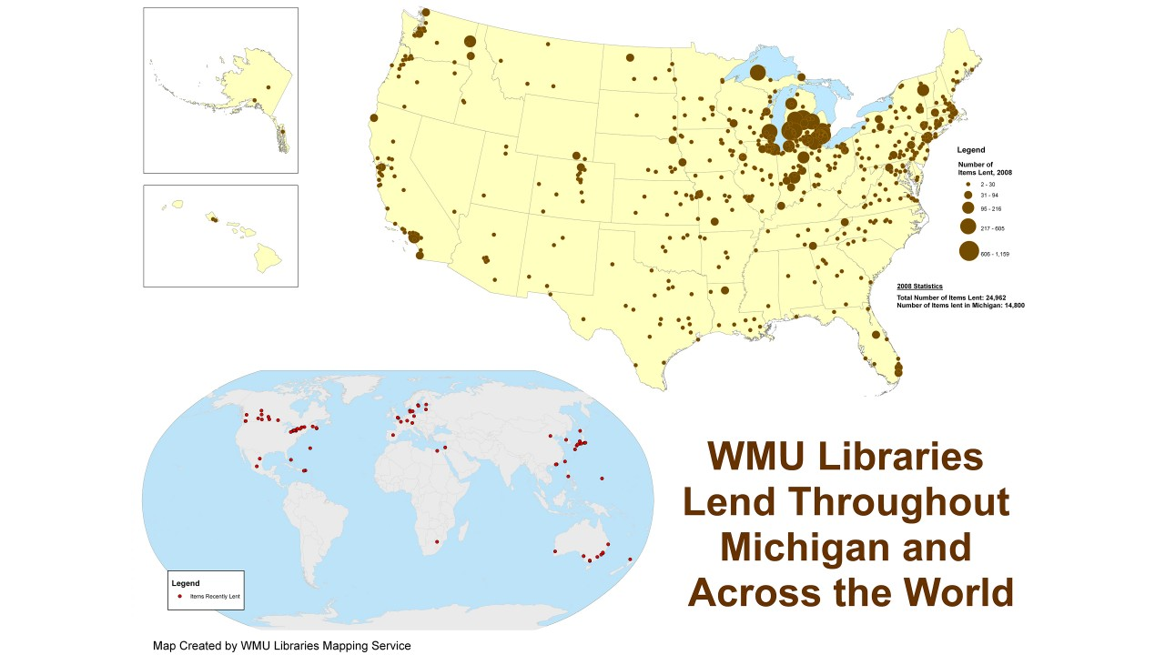 Map showing WMU Libraries lending in the USA and world.