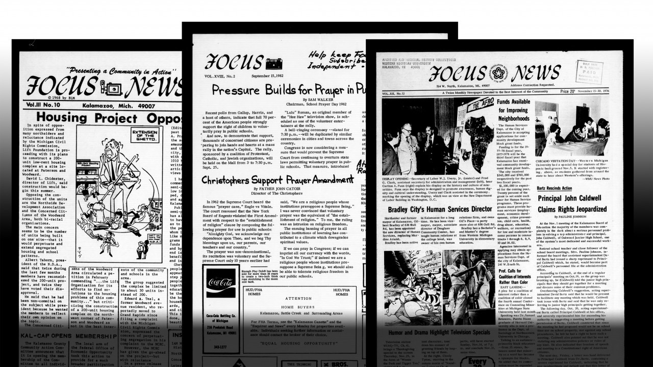 Digital recreations of three front pages of Focus News, Kalamazoo's longest continuously produced newspaper.