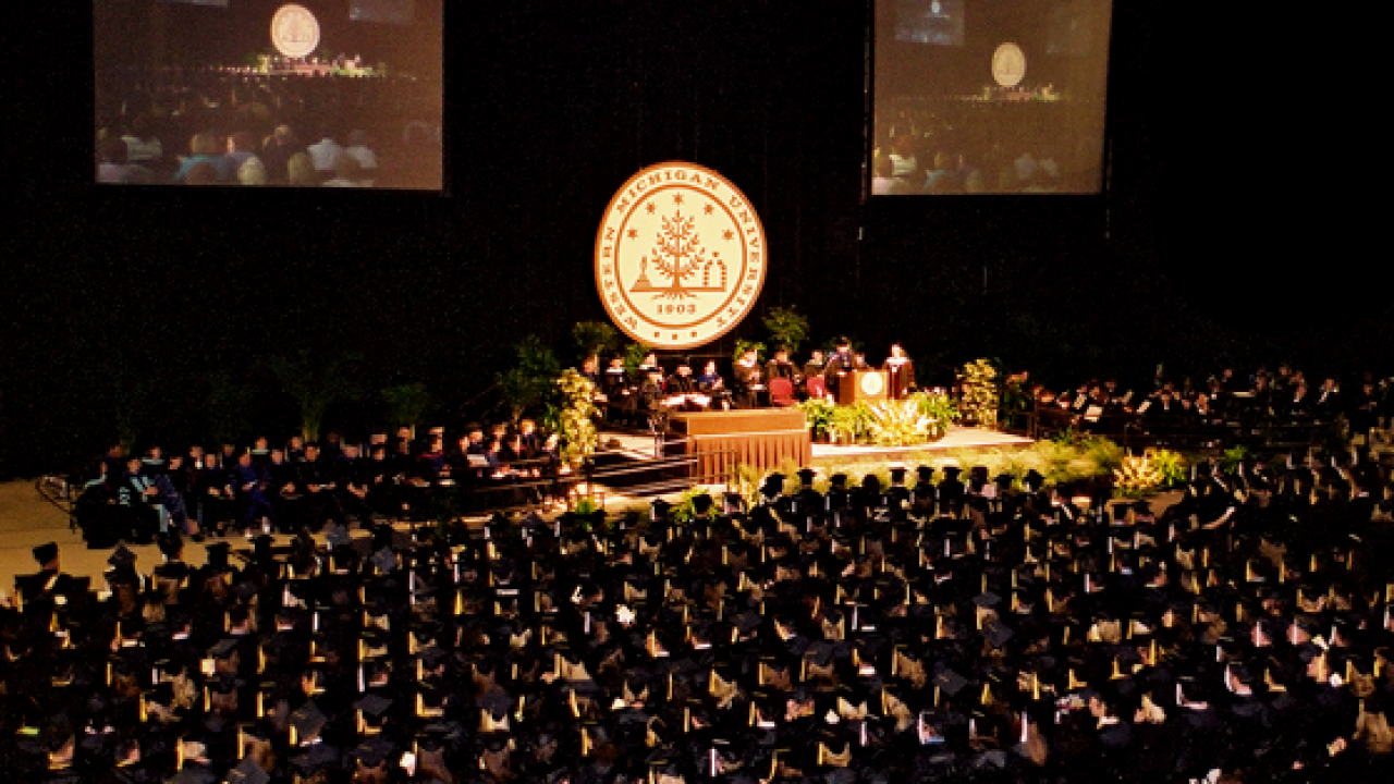 WMU commencement at University Arena.
