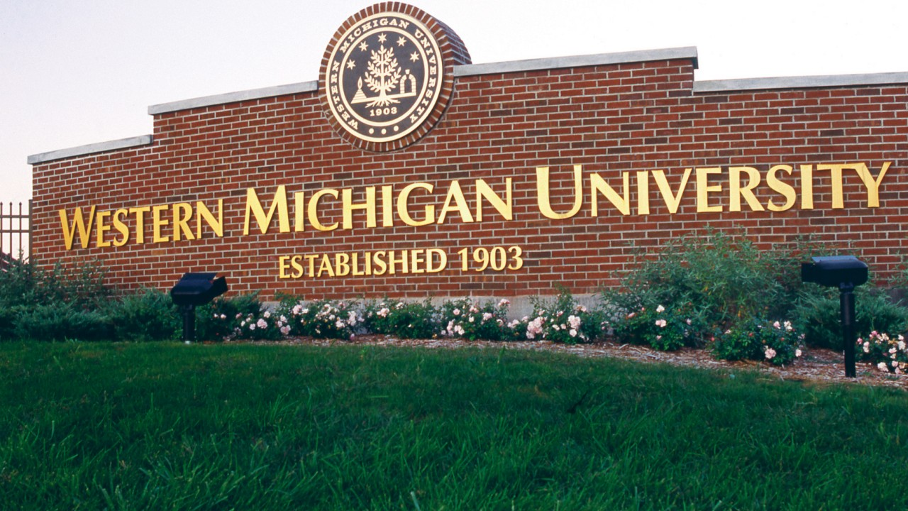 Brick sign of Western Michigan University