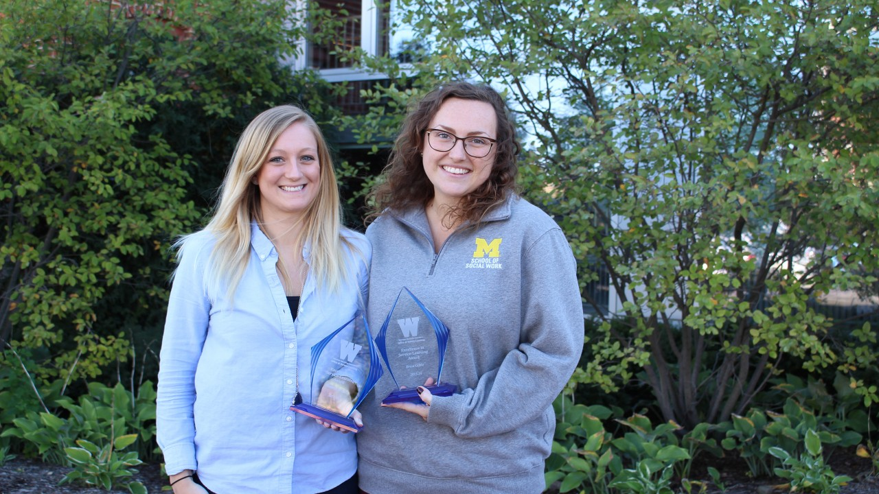 Recipients of the Excellence in Service-Learning awards: Victoria Brooks and Erica Goble