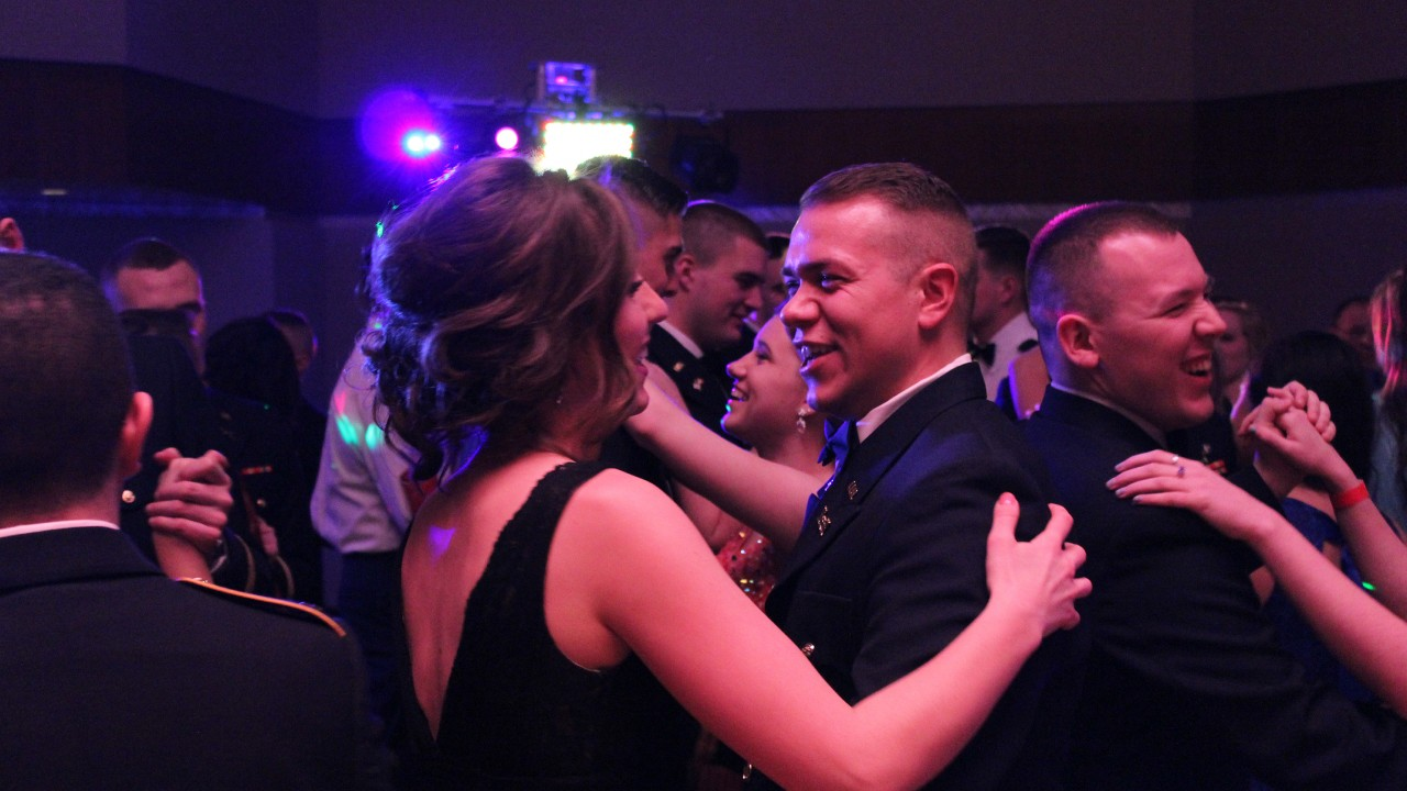 Student cadets dancing at a military ball