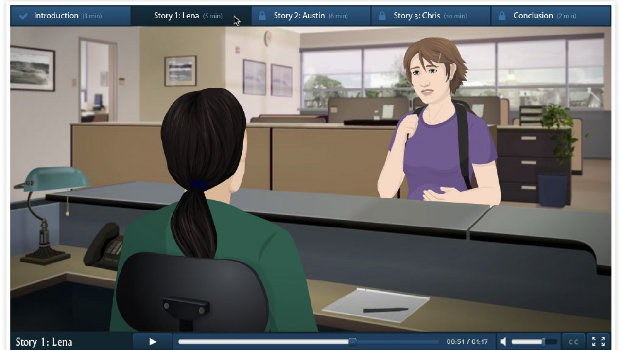 Screenshot of the faculty and staff training module