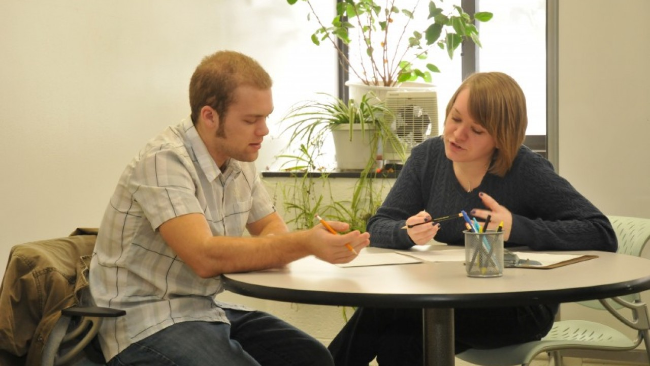 A student working with a tutor