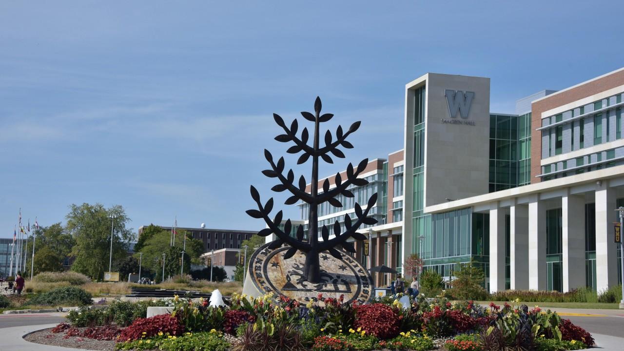 WMU's tree of knowledge statue by Sangren Hall