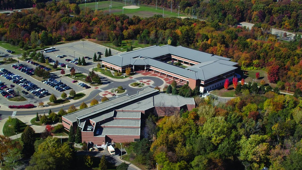 Aerial photo of Schneider Hall