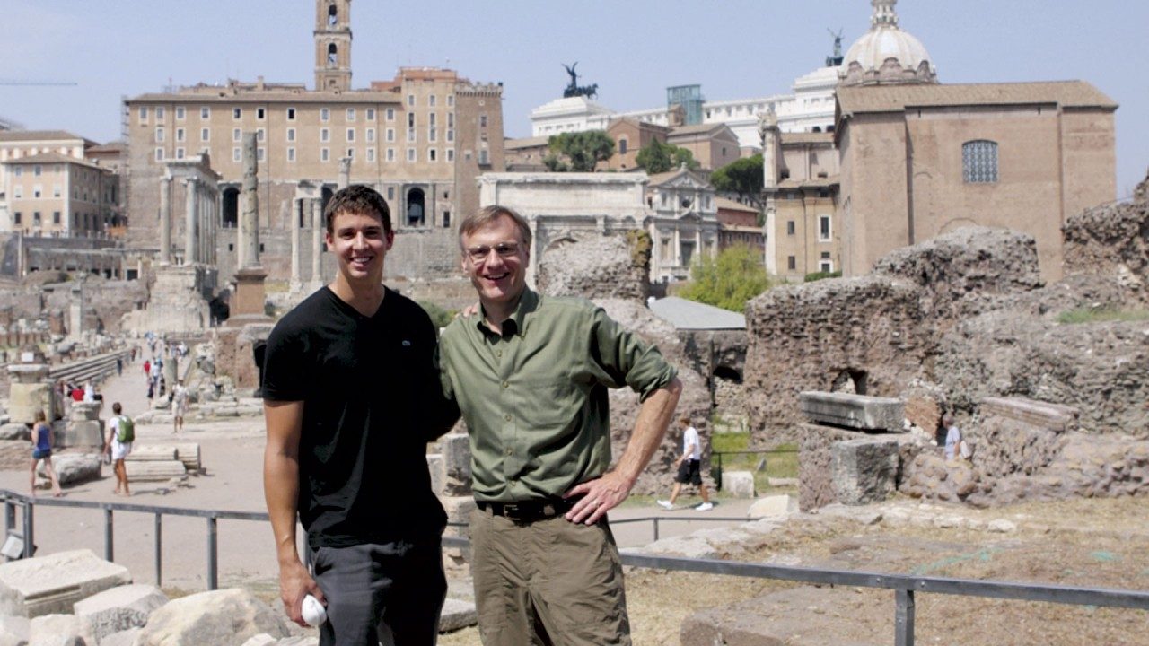 Photo of WMU faculty member and student in Italy.