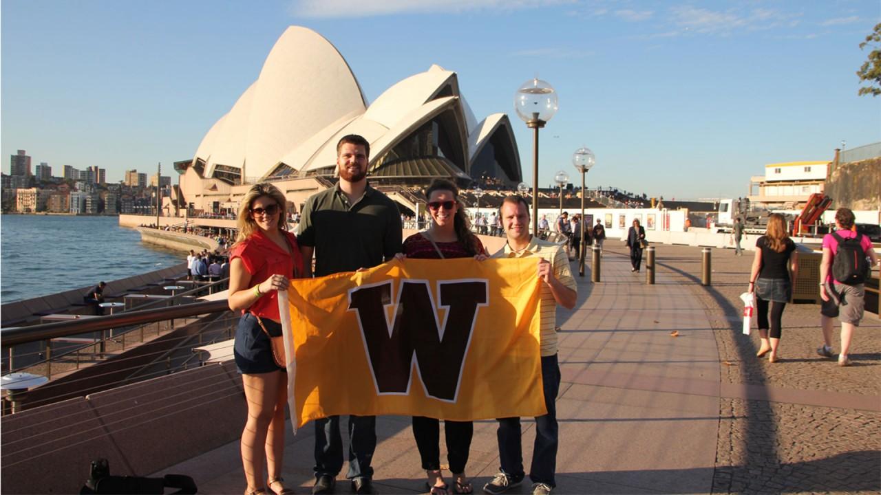 Photo of WMU students near the Sydney Opera House.