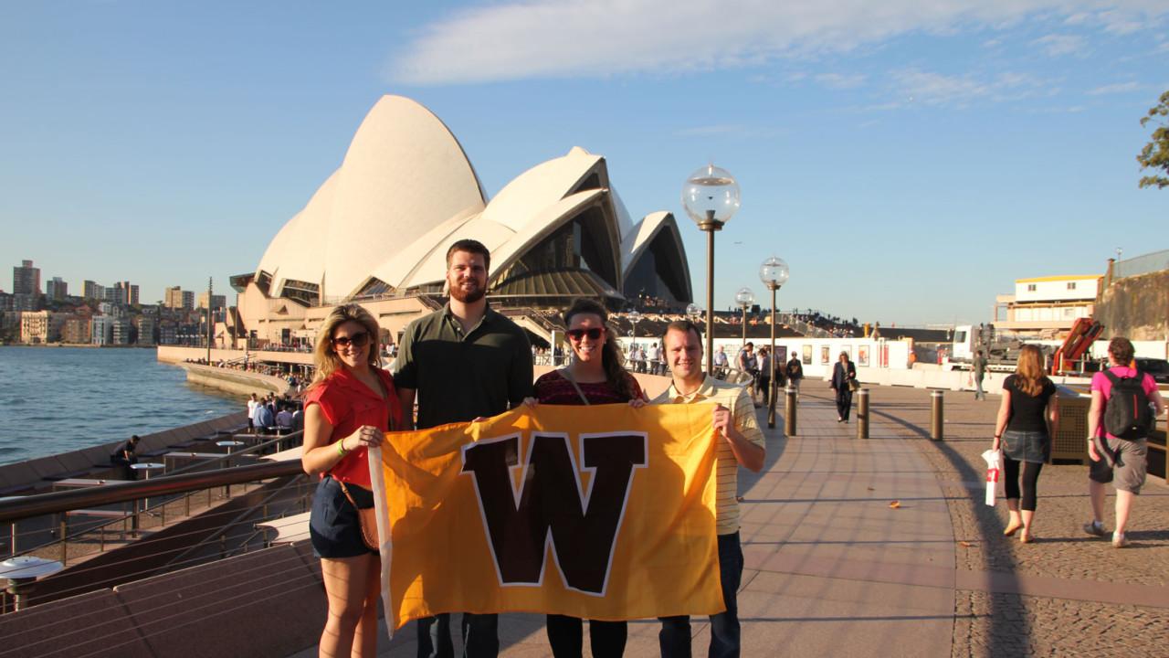 Photo of students near Sydney Opera House.