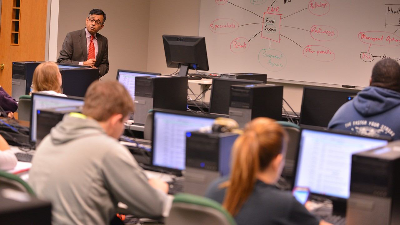 MBA faculty member in computing classroom.