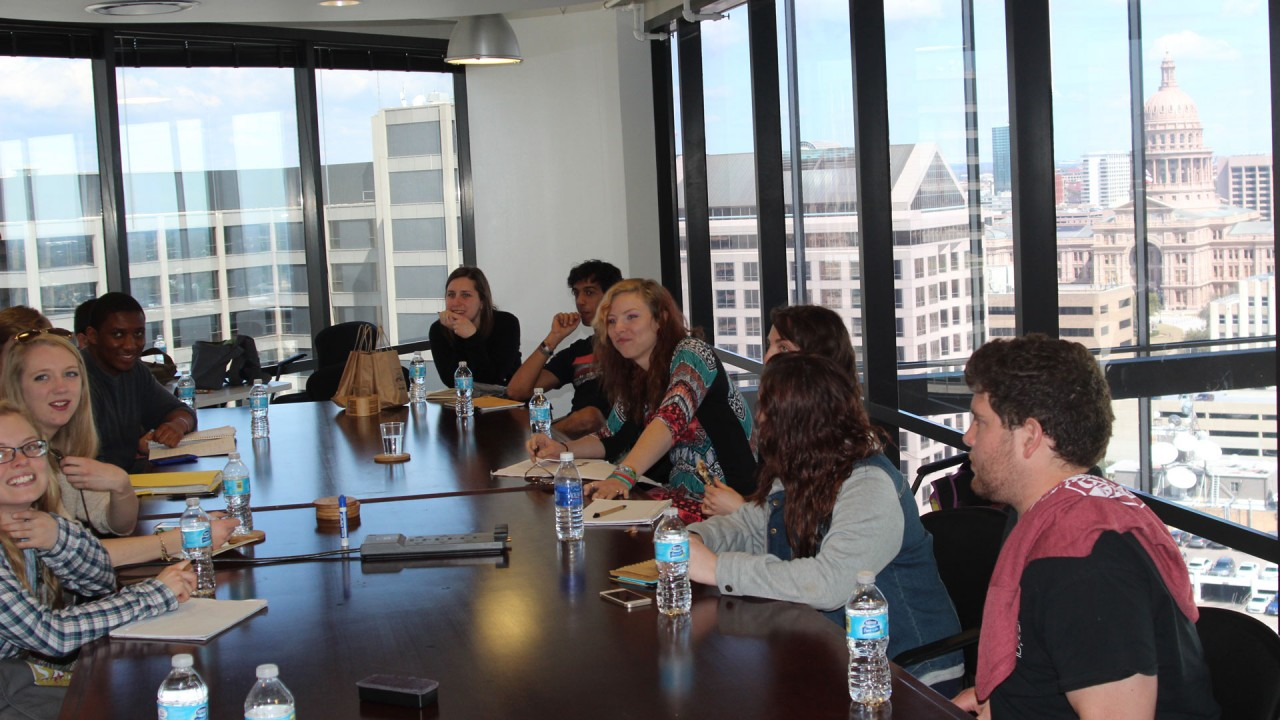 Students in conference room in Austin, Texas