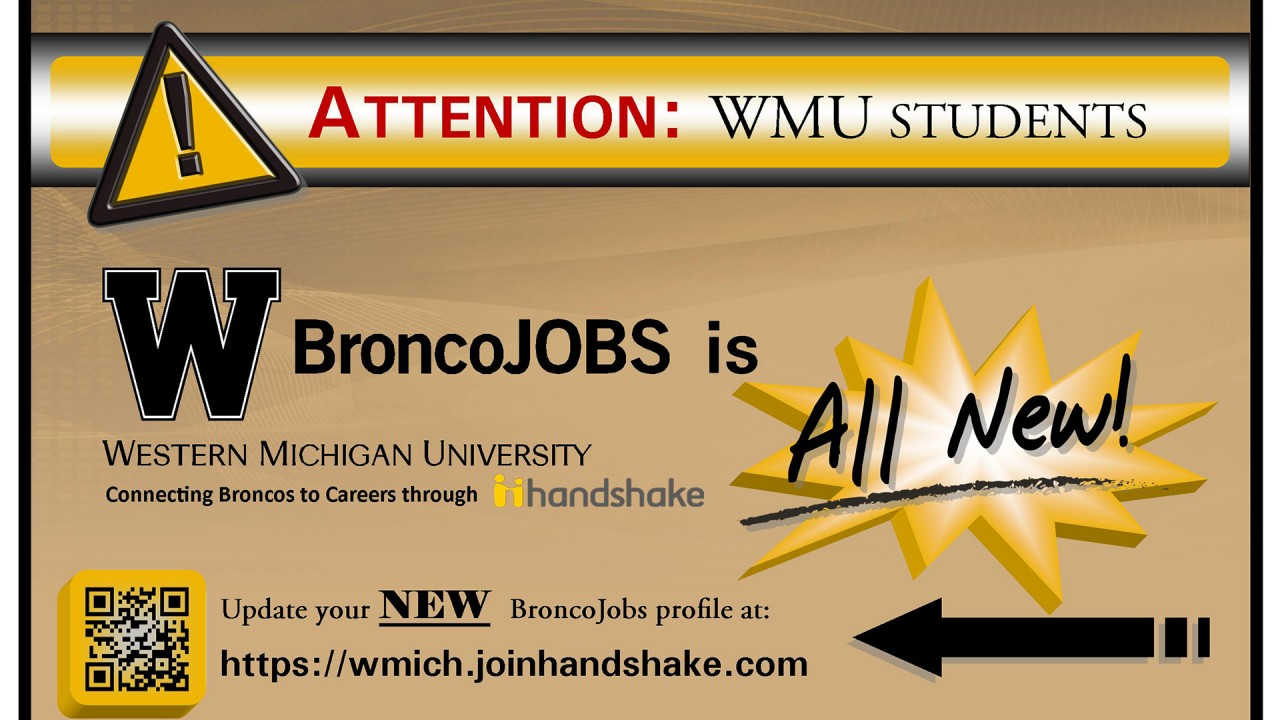 Graphic of new broncojobs at wmich.edu/career