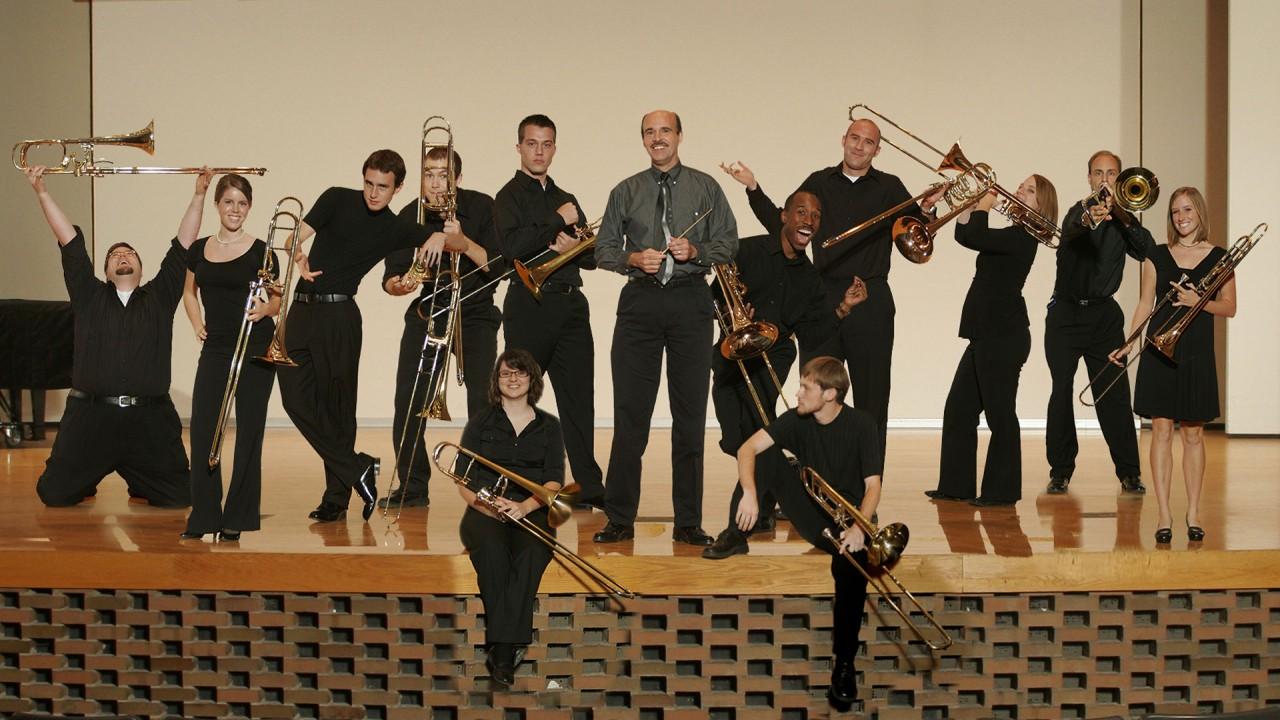 Trombone choir on stage