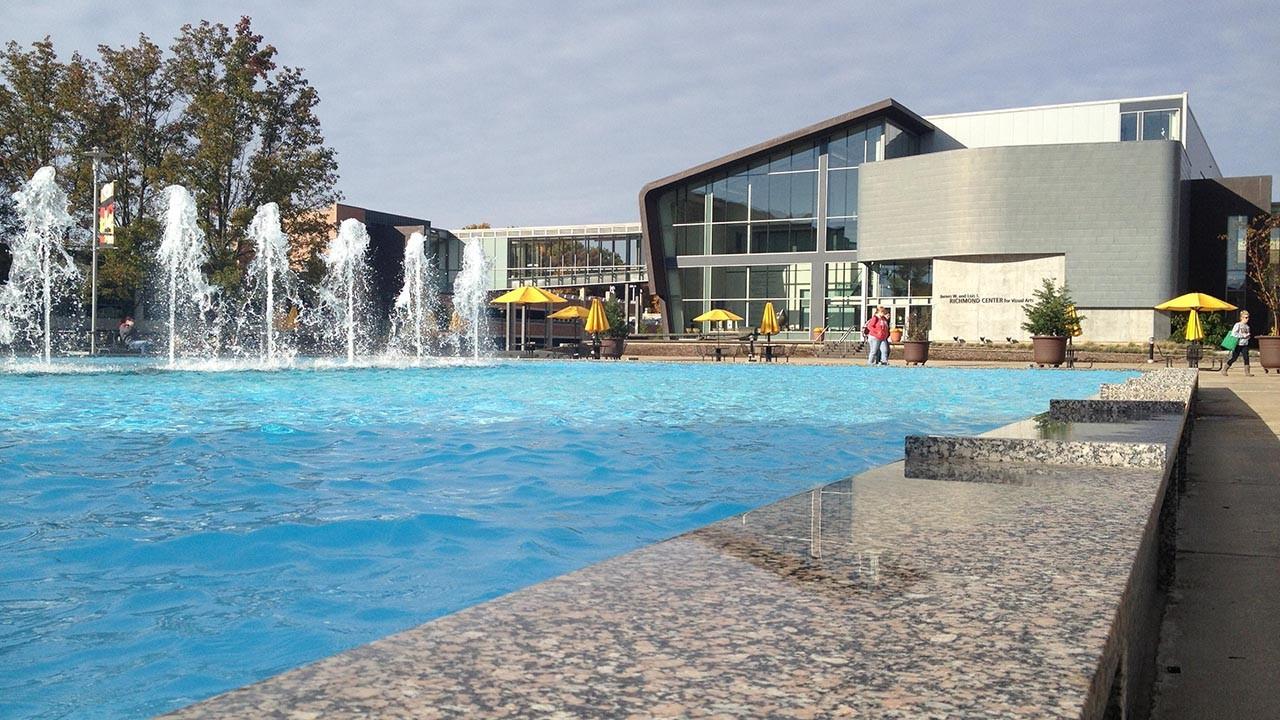 Exterior view of Richmond Center showcasing the fountain plaza