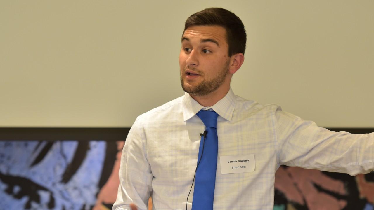Student making presentation