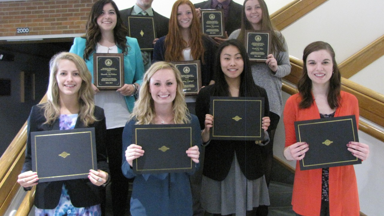 Scholarship recipients with awards