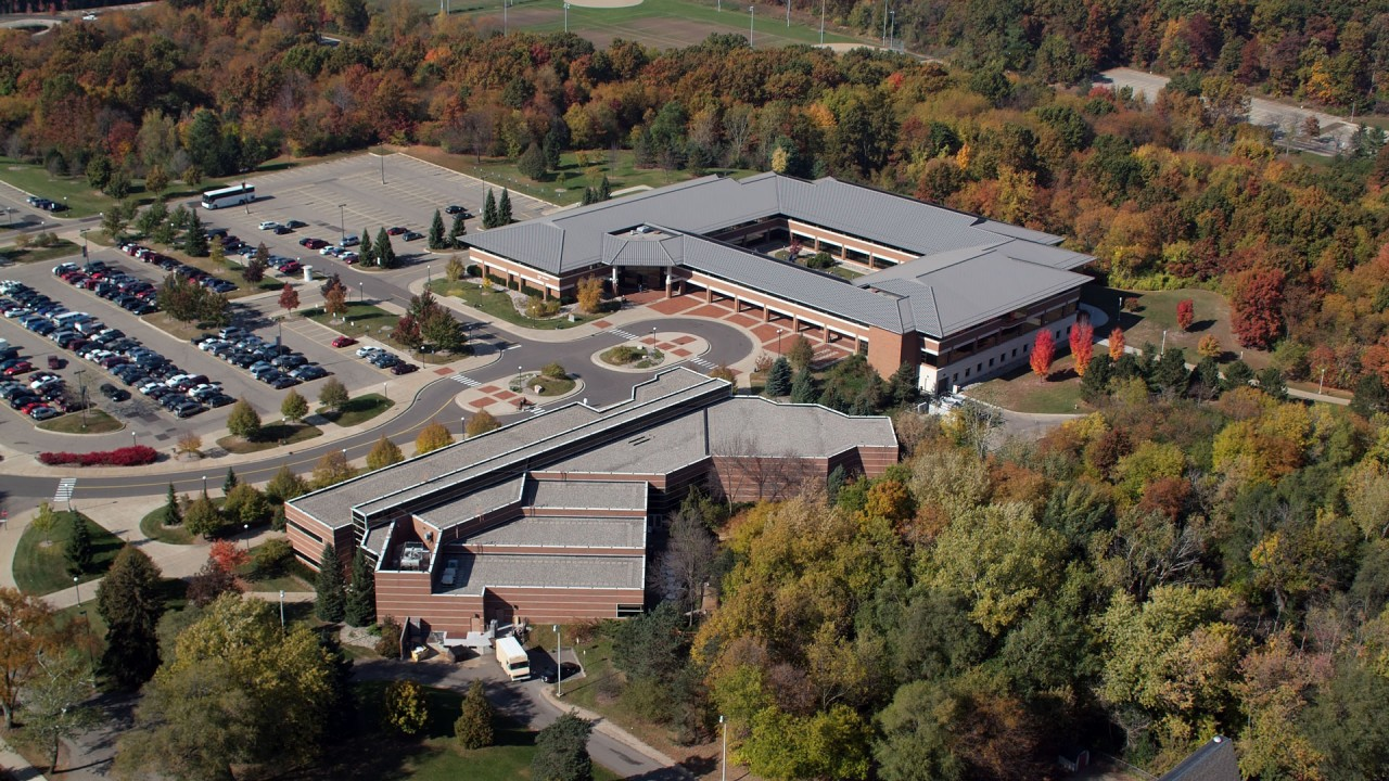 Aerial view of Schneider Hall