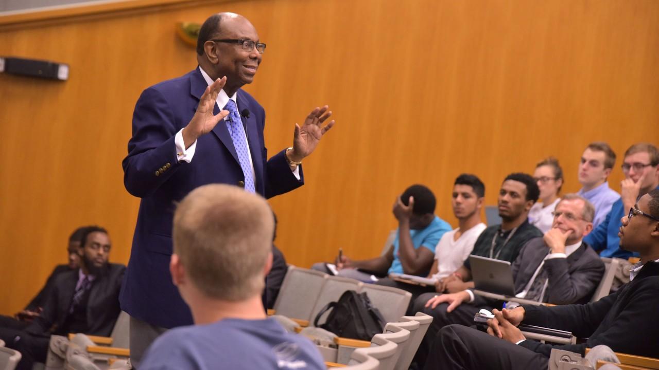 Guest speaker in auditorium