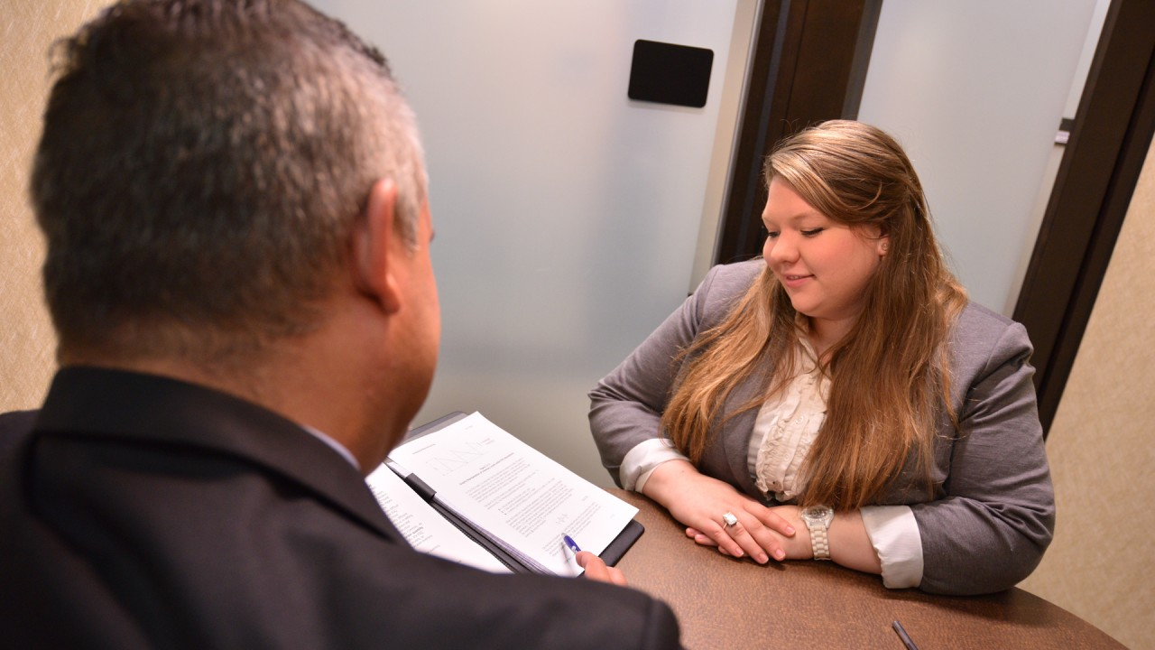 Student in the career center for advising with professional staff.