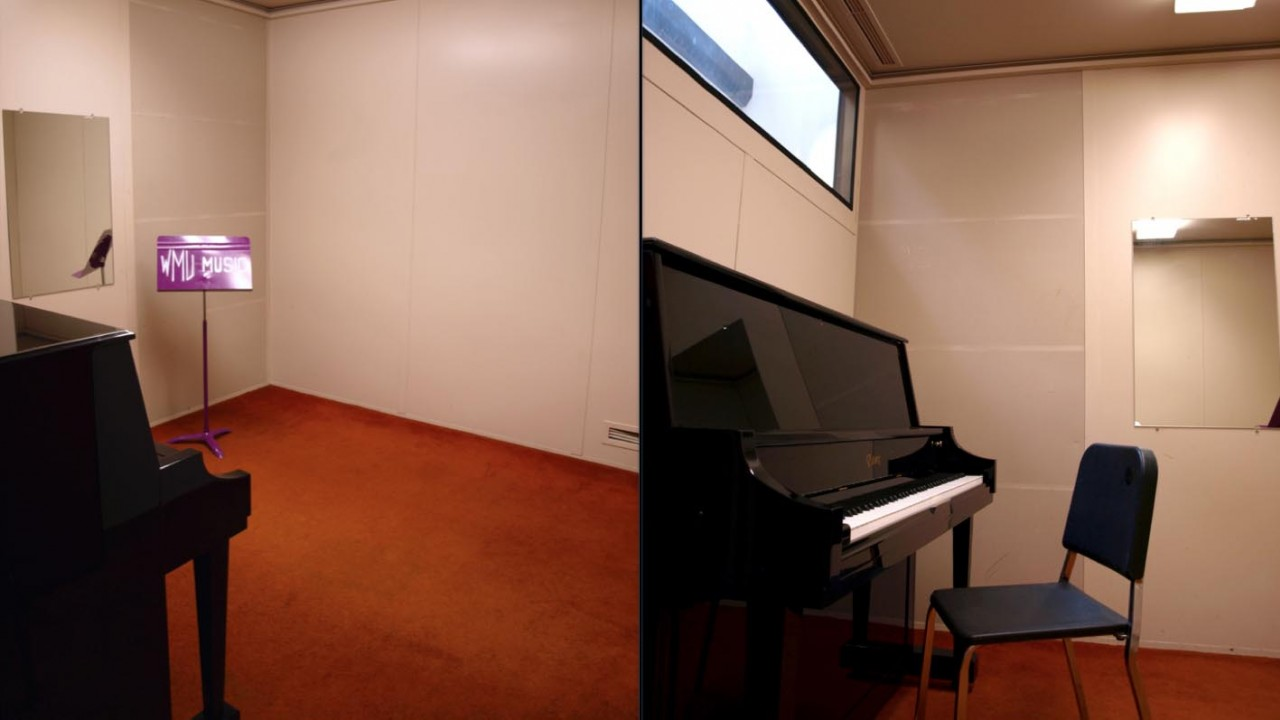 Two photos of a large practice room with an upright piano and music stand in the corner