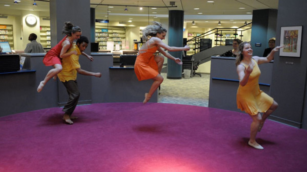 Western Dance Project performing at the Kalamazoo Public Library.