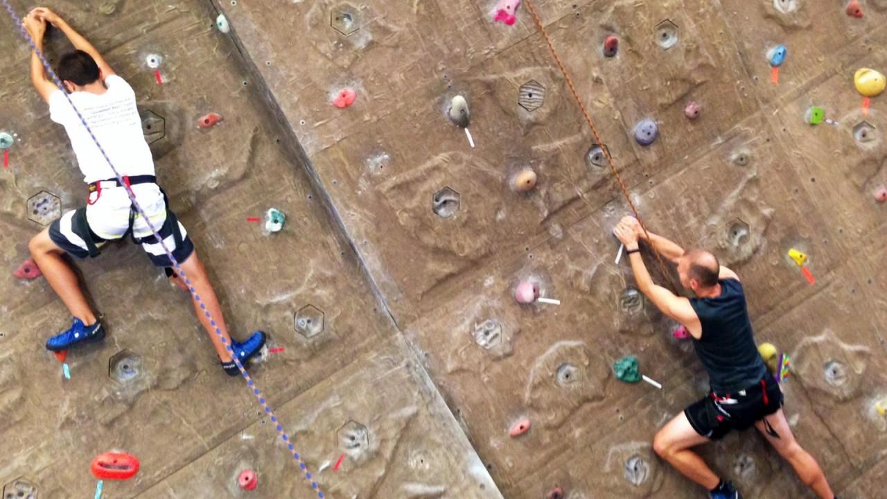 Photo of alumni rock wall climbing.