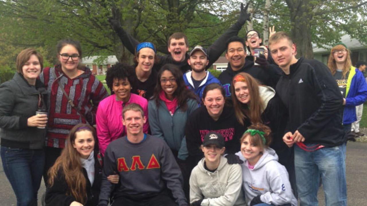 Photo of students posing at Alpha Lambda Delta gathering.