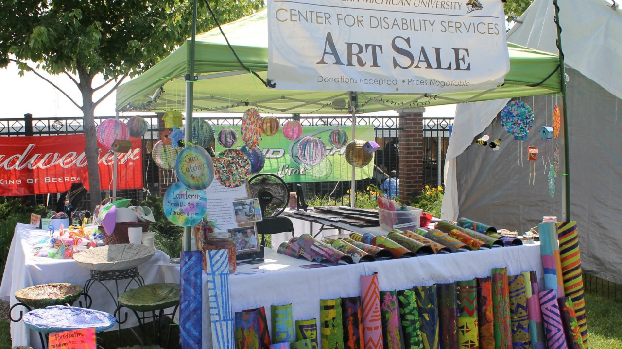 Photo of art sale booth.
