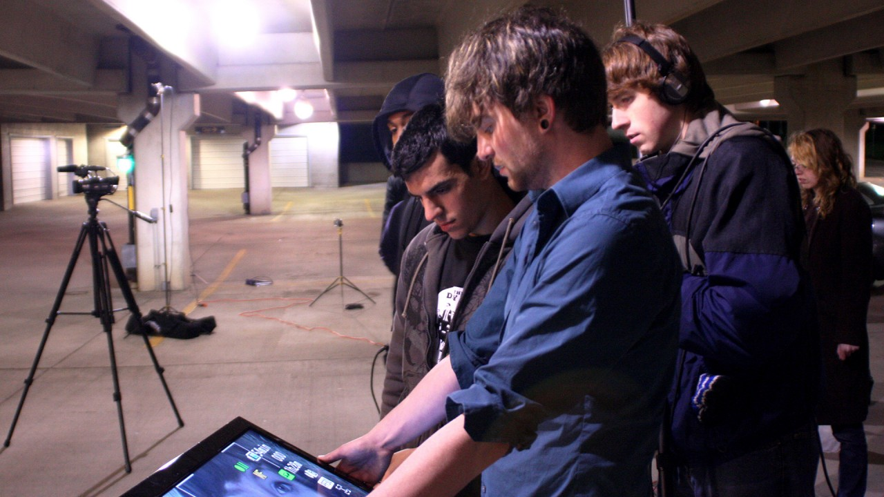 Students working with equipment from the film, video and media studies major.