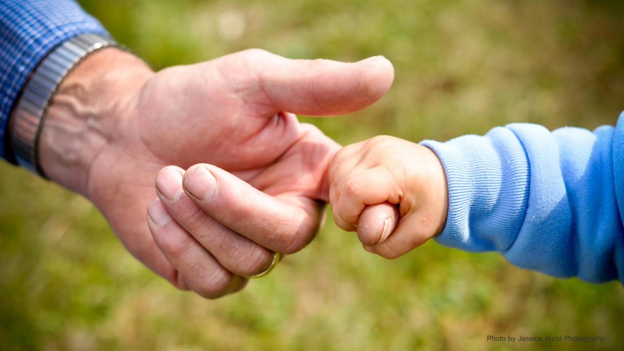 Closeup of a grandfather's and grandson holding hands.