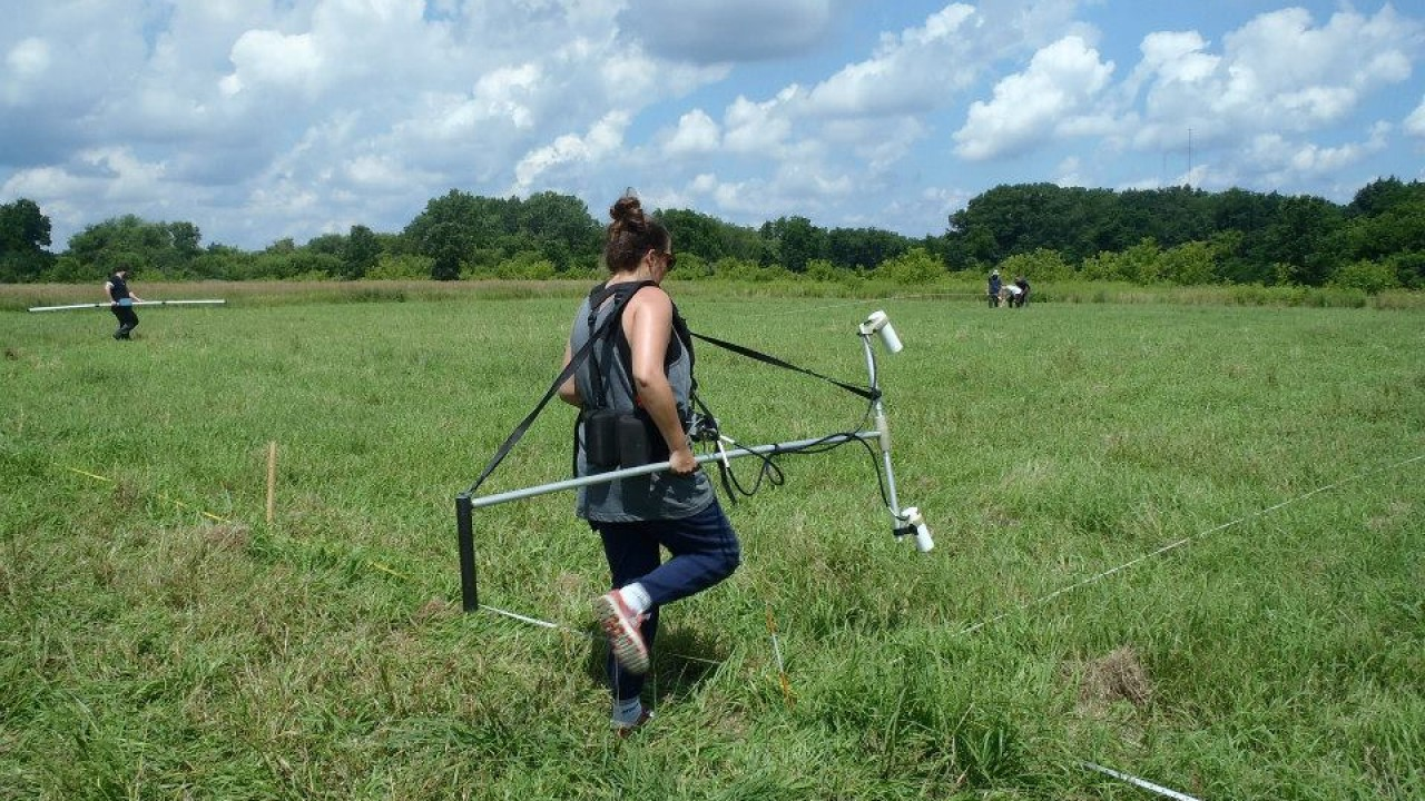 Student in the field carrying equipment.