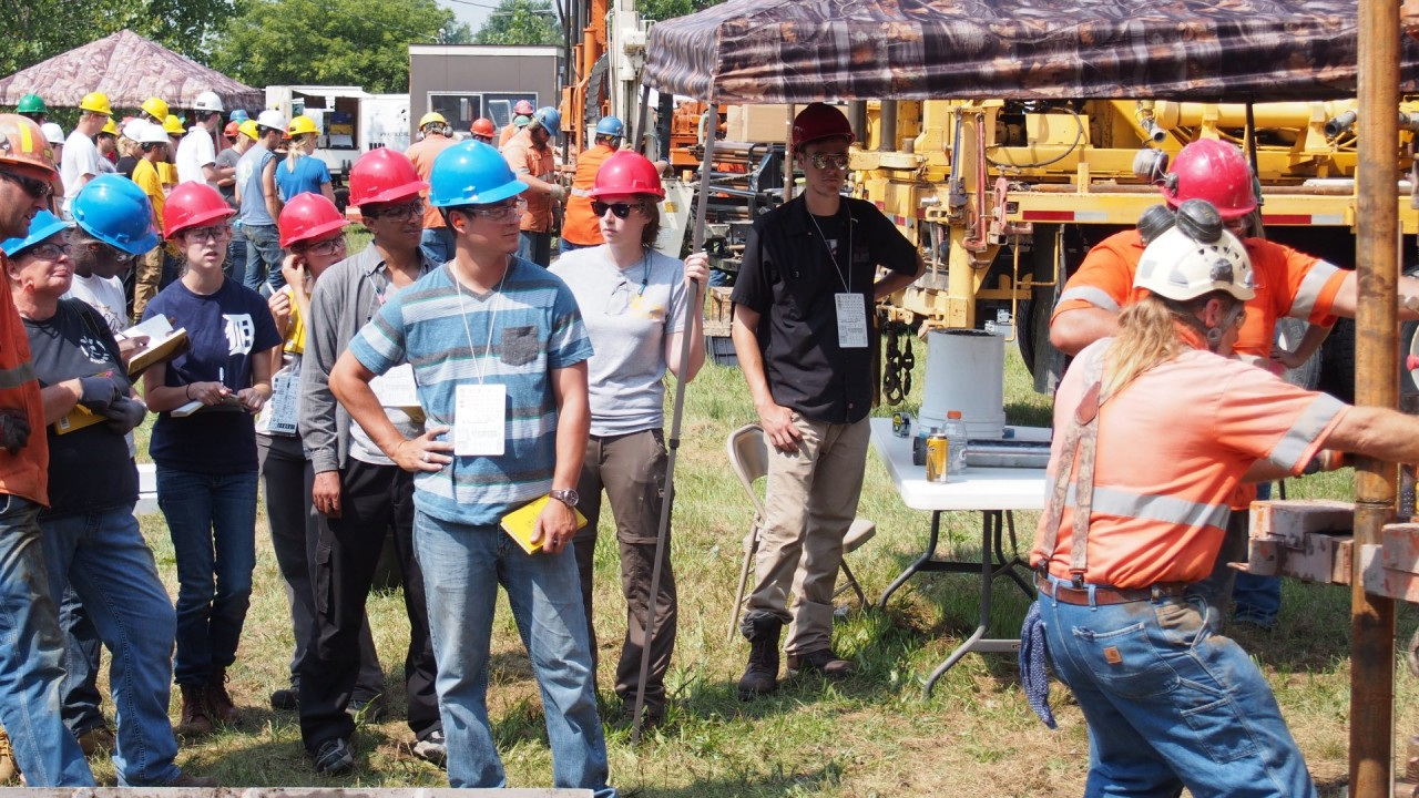 Students watching stock drilling.