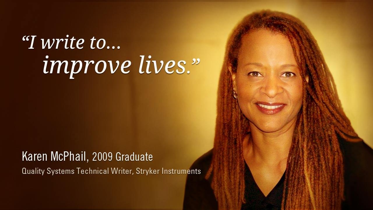 Karen McPhail, 2009 Graduate, Quality Systems Technical Writer, Stryker Instruments