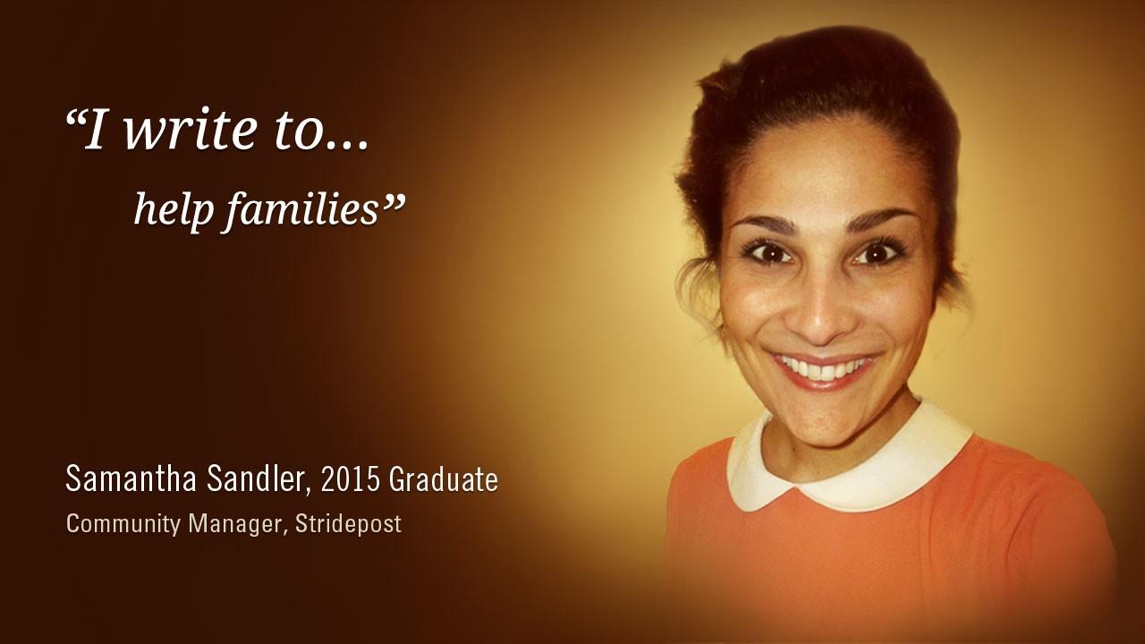 Samantha Sandler, 2015 Graduate, Community Manager, Stridepost