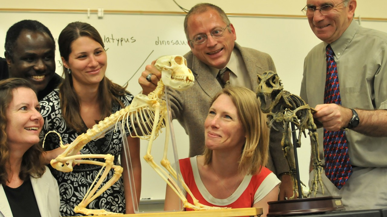 Students and faculty viewing skeleton