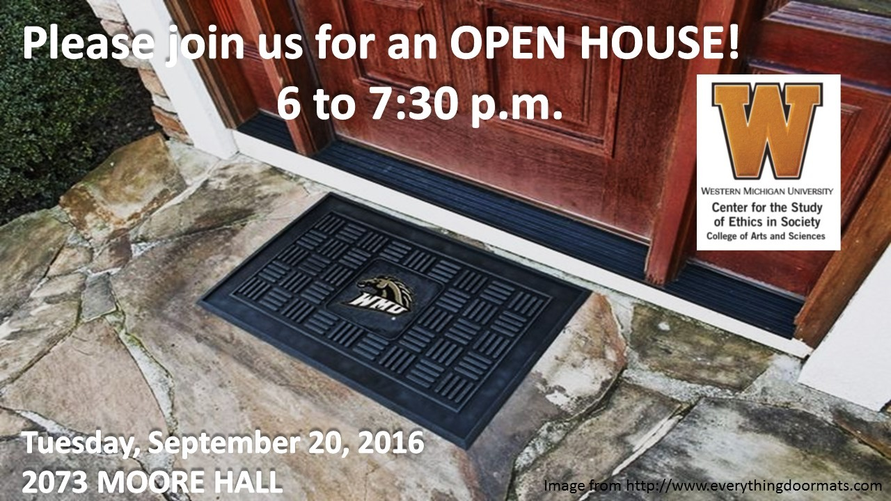 Ethics Center open house on September 20 from 6-7:30 p.m. in 2073 Moore Hall