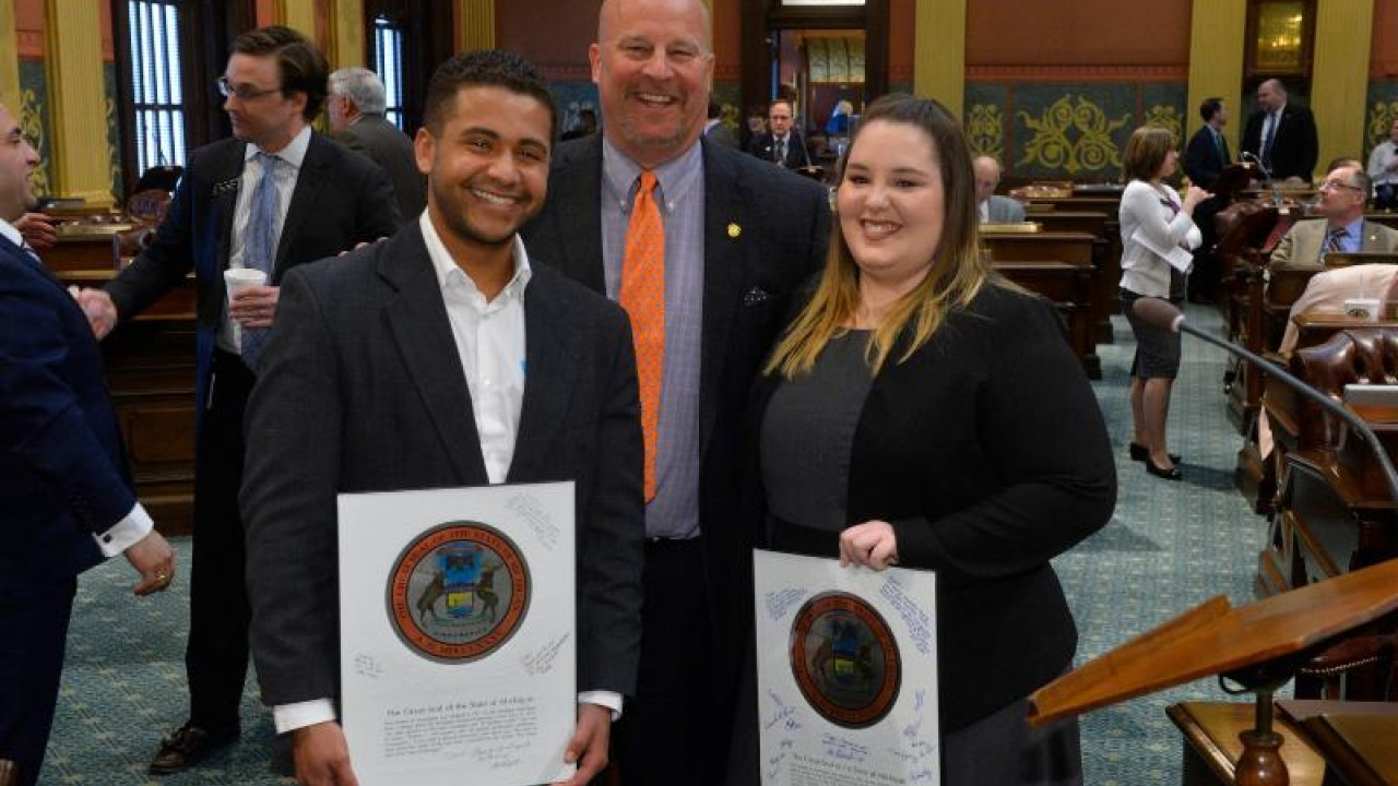 Sorrow, left, is pictured with House Appropriations Chair Al Pscholka and fellow intern Taylor Thrush.