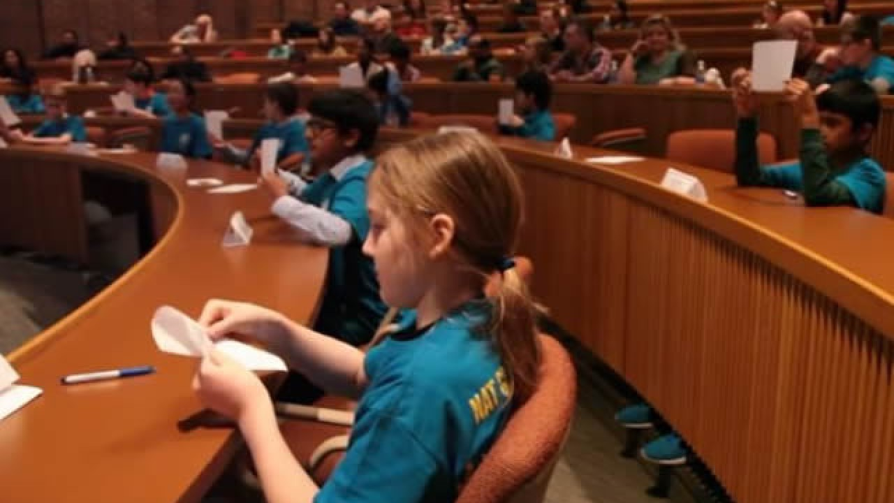 Students at the geography bee