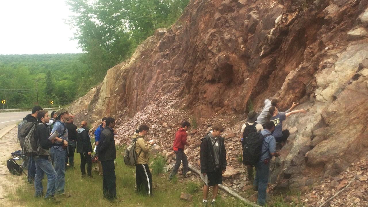 Dr. Thakurta's class observes a landform