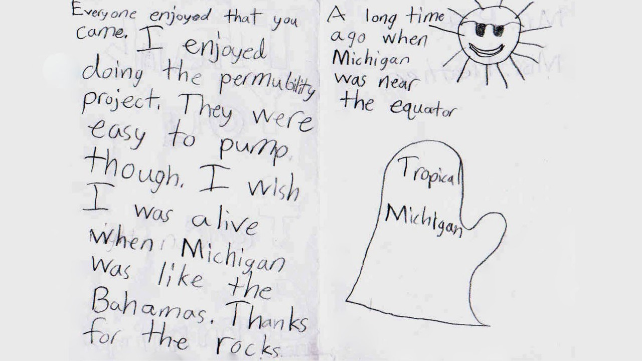 A child's drawing of Michigan