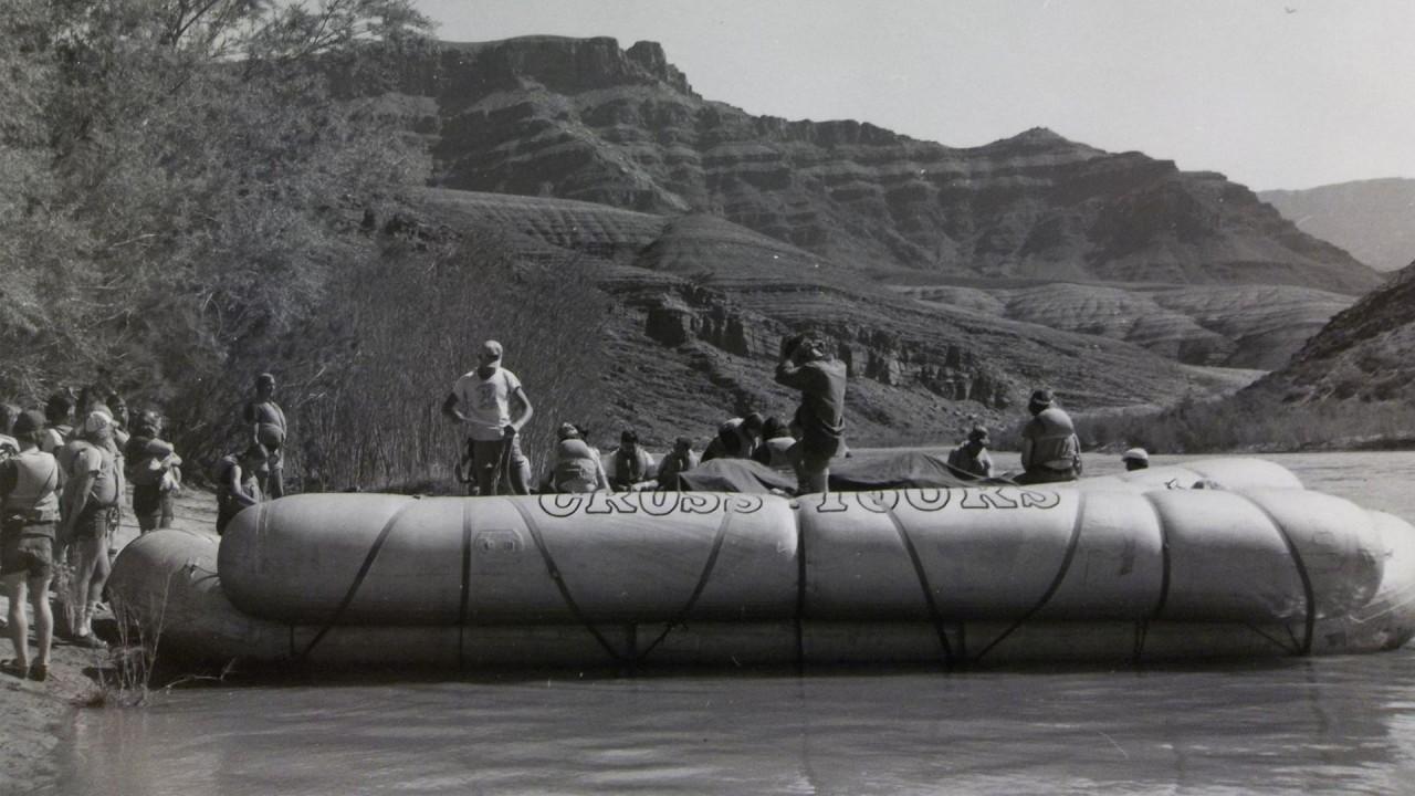 A river raft awaits passengers