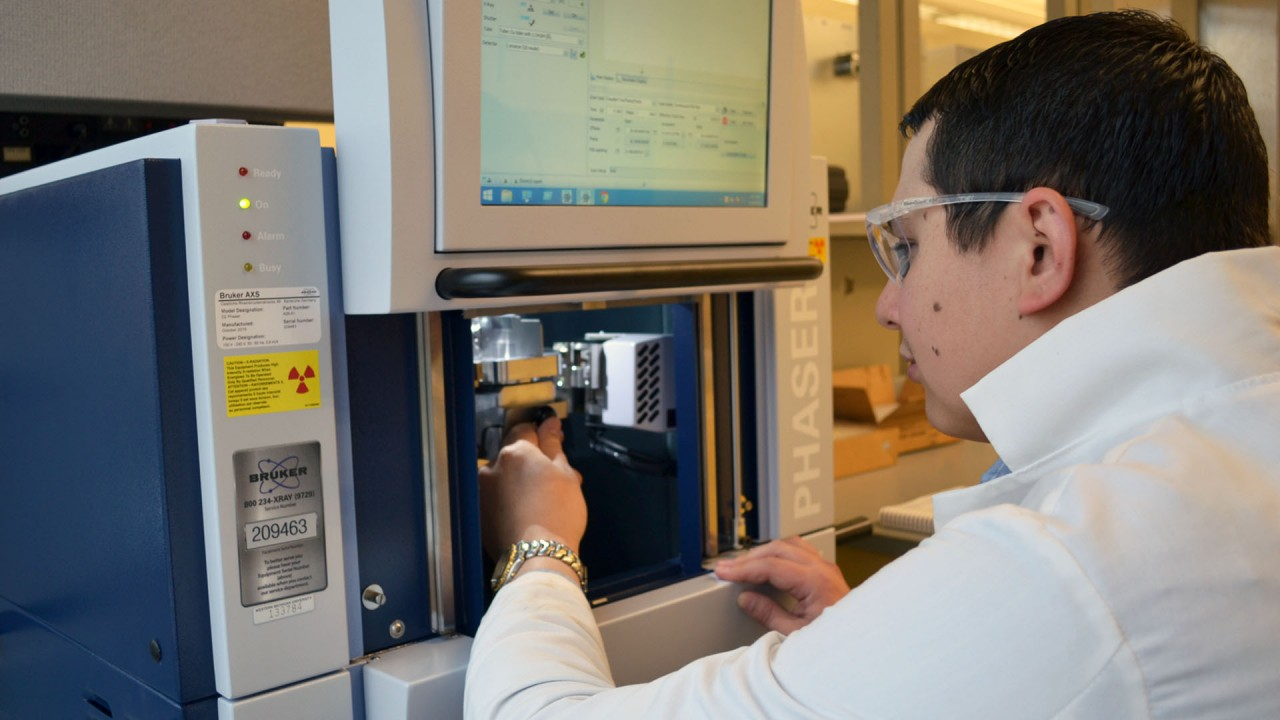 A graduate student performs X-ray diffraction