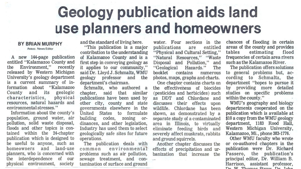 News clipping about a geology publication by MGRRE faculty