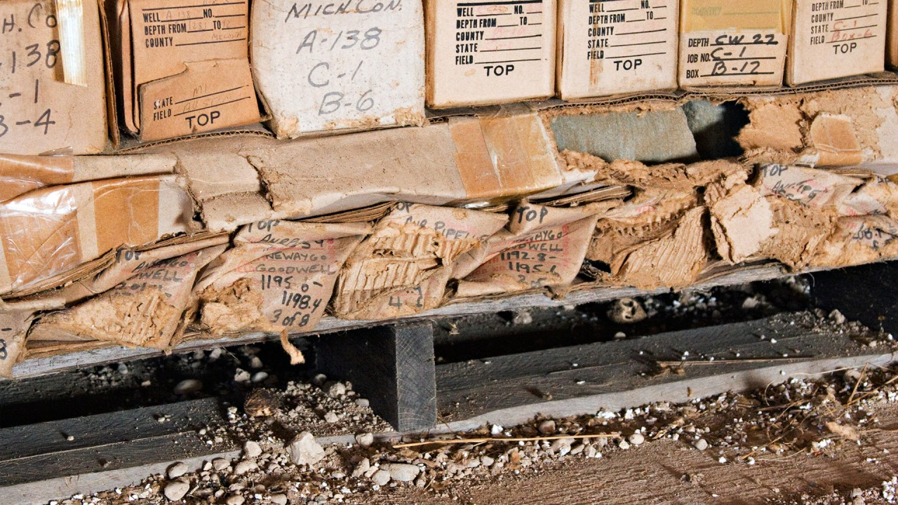Donated boxes containing cores that have suffered damage due to crushing