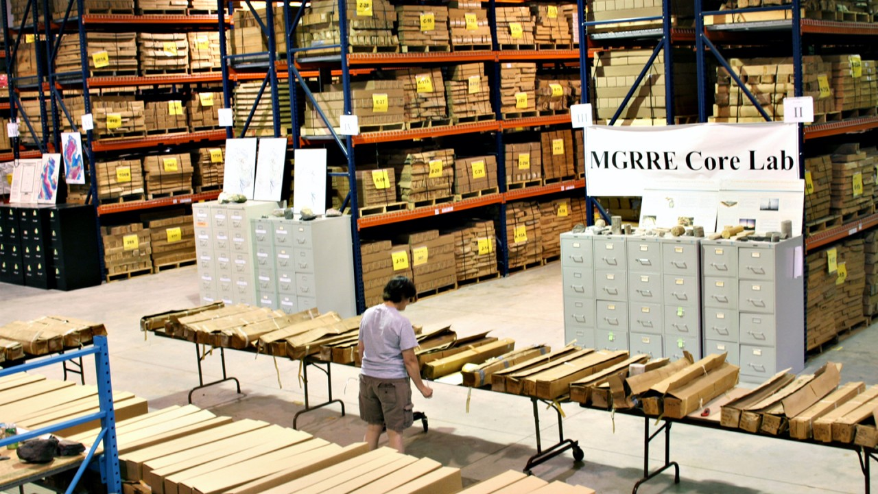 A MGRRE staff member inventories donated cores