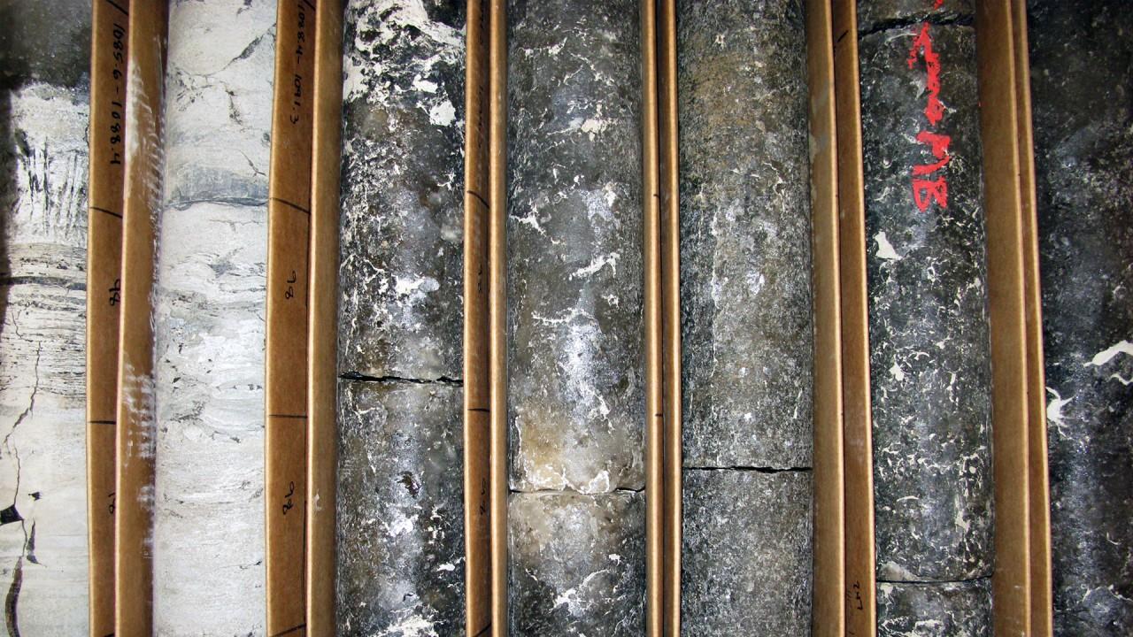 Boxes of cores containing potash