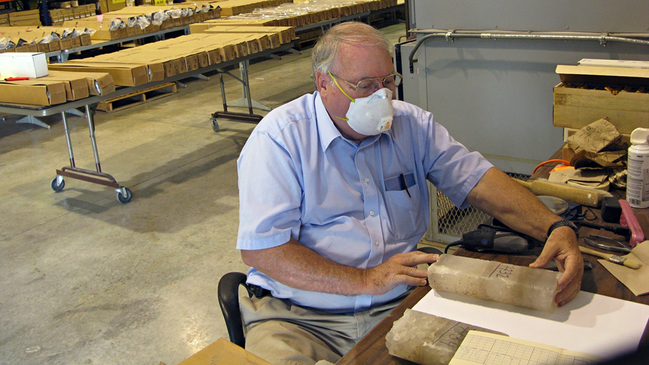 Dr. William Harrison samples potash core