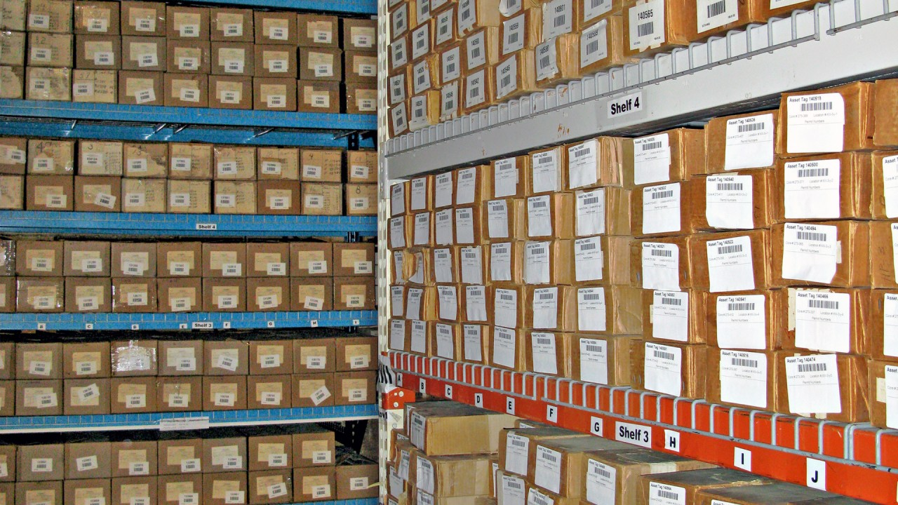 Boxes of cuttings from the state of Michigan that are stored at MGRRE